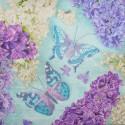 Serwetka do decoupage - bzy i motyle turkusowe