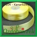 Wstążka tasiemka satynowa 25mm kanarkowa 104 SZTYWNA