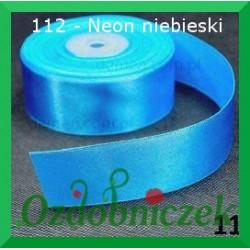 Wstążka tasiemka satynowa neon niebieski 112 SZTYWNA