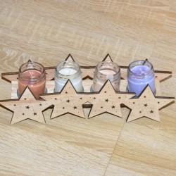 Świecznik drewniany na 4 tealight -  gwiazdka