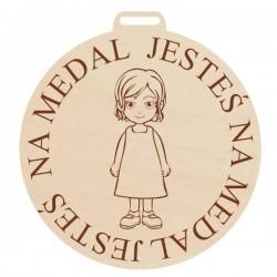 Medal z grawerem JESTEŚ NA MEDAL dla chłopca, ze sklejki