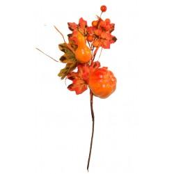 Gałązka z dynią, tykwą, jagodami i listkami 35cm