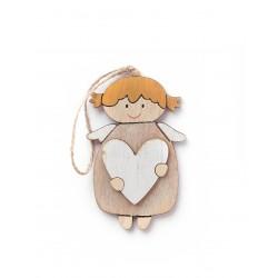 Aniołek z białym serduszkiem - zestaw drewnianych zawieszek 8szt