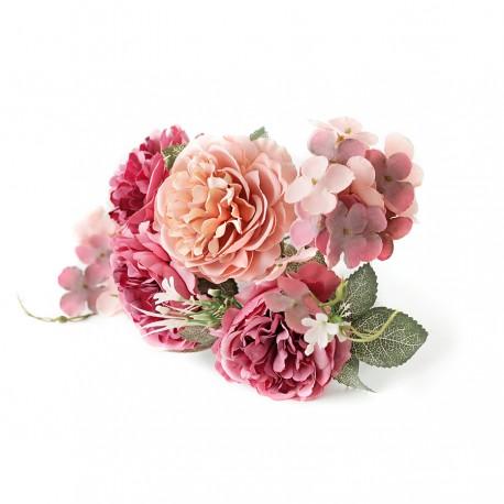 BUKIET PEŁNIK HORTENSJE brudny róż fuksja