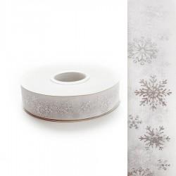 Wstążka szyfonowa biała w srebrne śnieżynki 25mm/22mb