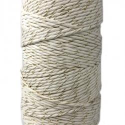 Sznurek bawełniany biały ze złotą nitką 100g
