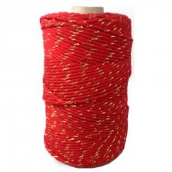 Sznurek bawełniany czerwony ze złotą nitką 100g