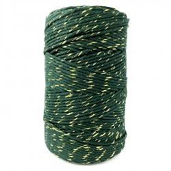 Sznurek bawełniany ciemna zieleń ze złotą nitką 100g