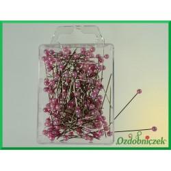 Szpilki z perłową główką 4mm jasno różowe