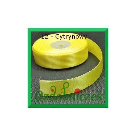 Tasiemka satynowa 25mm cytrynowa 12 SZTYWNA