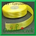 Wstążka tasiemka satynowa 25mm cytrynowa 12 SZTYWNA