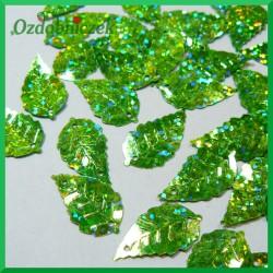 Cekiny listki 13mm/5g zielone DUŻE LASEROWE