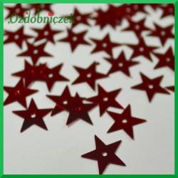 Cekiny gwiazdki 13mm/5g czerwone metaliczne