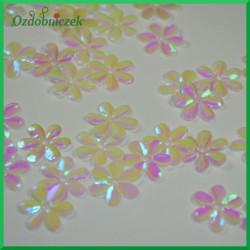Cekiny kwiatuszki 15mm/5g białe opalizujące