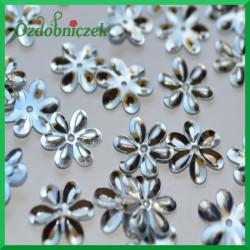 Cekiny kwiatuszki 15mm/5g metaliczne srebrne