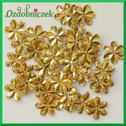 Cekiny kwiatuszki 15mm/5g metaliczne złote