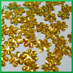 Cekiny kwiatuszki 15mm/5g laserowe złote