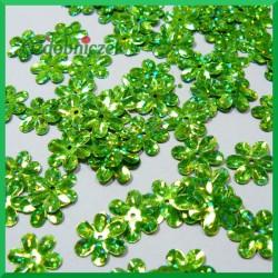 Cekiny kwiatuszki 15mm/5g laserowe zielone