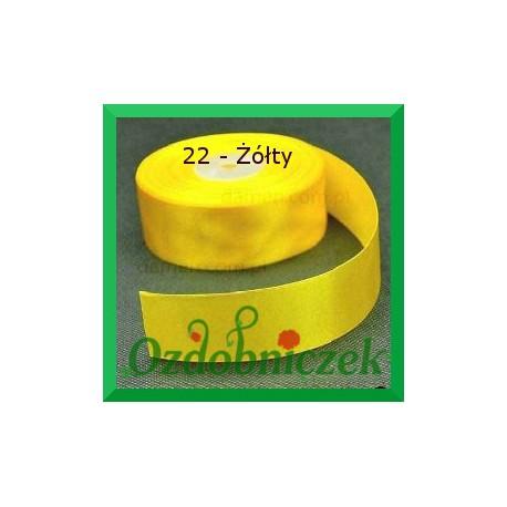 Tasiemka satynowa 25mm żółta 22 SZTYWNA