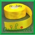 Wstążka tasiemka satynowa 25mm żółta 22 sztywna