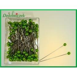 Szpilki z perłową główką 6mm zielone