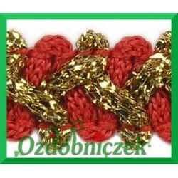 Taśma szlaczek z brokatem czerwono złoty 1mb