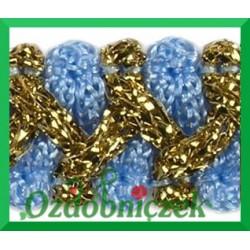Taśma szlaczek z brokatem niebiesko złoty 1mb