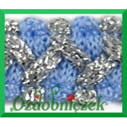Taśma szlaczek z brokatem niebiesko srebrny 1mb