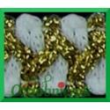 Taśma szlaczek z brokatem biało złoty 1mb
