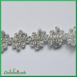 Taśma dekoracyjna szlaczek postrzępiony srebrny 20mm/1 mb