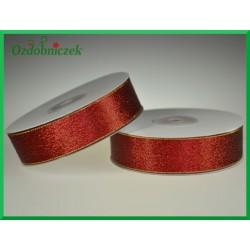 WSTĄŻKA brokatowa KOLOROWA 25mm czerwona ze złotym brokatem