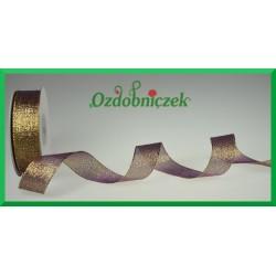 WSTĄŻKA brokatowa KOLOROWA 25mm brązowa ze złotym brokatem