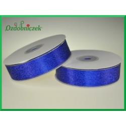 WSTĄŻKA brokatowa KOLOROWA 25mm niebieska ze srebrnym brokatem