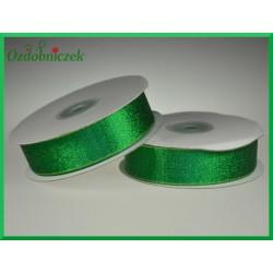 WSTĄŻKA brokatowa KOLOROWA 25mm zielona ze złotym  brokatem