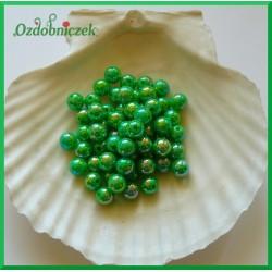 Perełki 8mm duża paczka ciemne zielone opalizujące