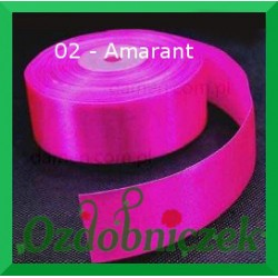 Tasiemka satynowa 25mm amarant 02 SZTYWNA