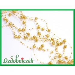 Girlanda perłowa 5szt/1,3m złota pastelowa