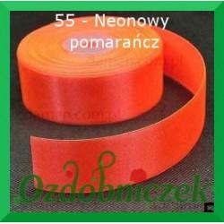 Tasiemka satynowa 25mm neonowy pomarańcz 55 SZTYWNA