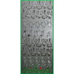 Stickersy srebrne miniaturki Świąteczne BN