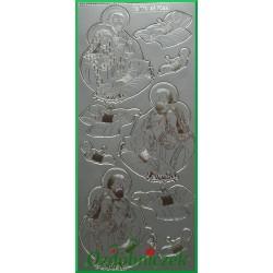 Stickersy srebrne Maryja, Józef, dzieciątko BN