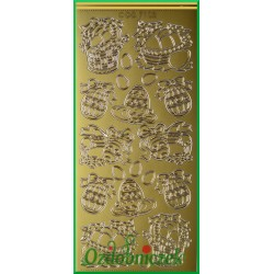 Stickersy złote koszyk z pisankami WN