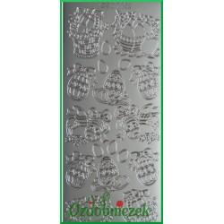 Stickersy srebrne koszyk z pisankami WN