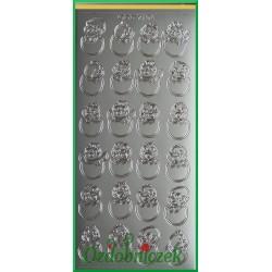 Stickersy srebrne kurczaki w jajkach WN