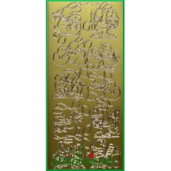 Stickersy złote króliczki z pisankami WN
