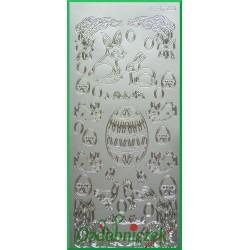 Stickersy srebrne Króliczki, Koguciki i jajka WN