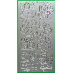 Stickersy srebrne króliczki z pisankami WN