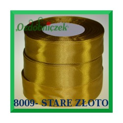 Tasiemka satynowa 12mm kolor stare złoto 8009