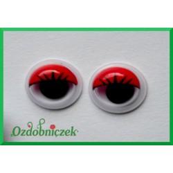 Ruchome oczy z rzęsami czerwone 8mm samoprzylepne około 20szt