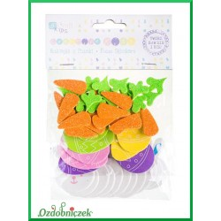 Naklejki z pianki króliczki, marchewki, jajka 51 szt.