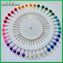 Szpilki z kolorową główką 40 sztuk